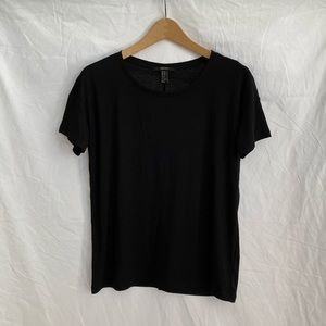 Forever 21 Black Ribbed Relaxed Fit T-Shirt